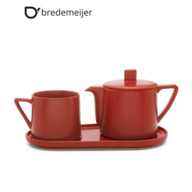 """Керамичен сет за чай от 3 части """"Lund"""" цвят червен"""