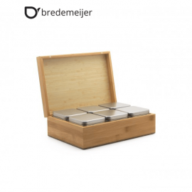 Бамбукова кутия за чай с 6 канистера